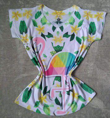 Tee Feminina no Atacado Flamingo Grande Colorido