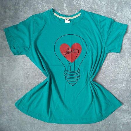 T-Shirt Feminina Para Revenda Lâmpada Love
