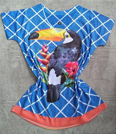T-Shirt Feminina Para Revenda Tucano Fundo Azul