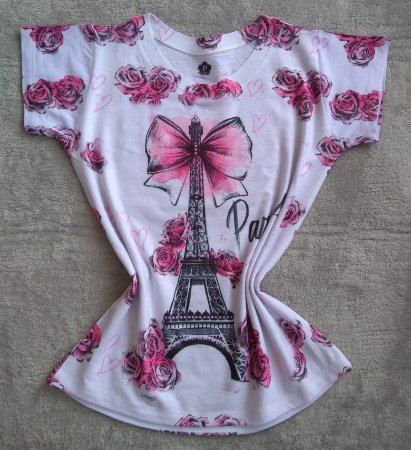 TShirt Feminina Para Revenda Paris Torre Laço