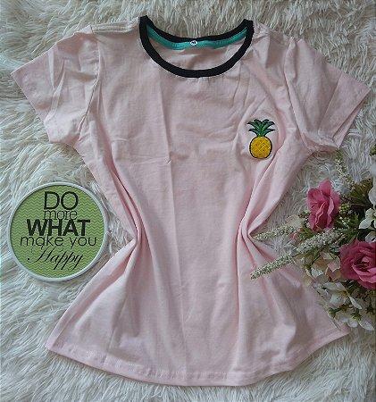 Blusa Feminina No Atacado Abacaxi fundo rosa
