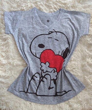 Blusinha Feminina Para Revenda Snoopy Grande Coração