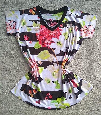 Blusa Feminina no Atacado Flores e Listras