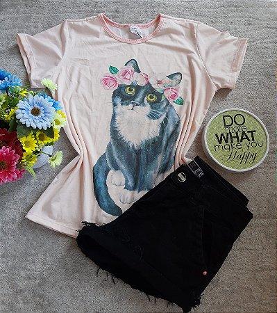 T-Shirt Feminina no Atacado Cat Grande