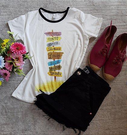T Shirt Feminina no Atacado Placas Cidades