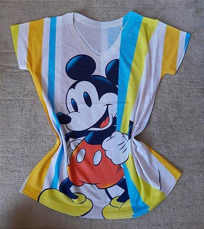 Blusa Feminina Para Revenda Mickey Grande Listras Coloridas