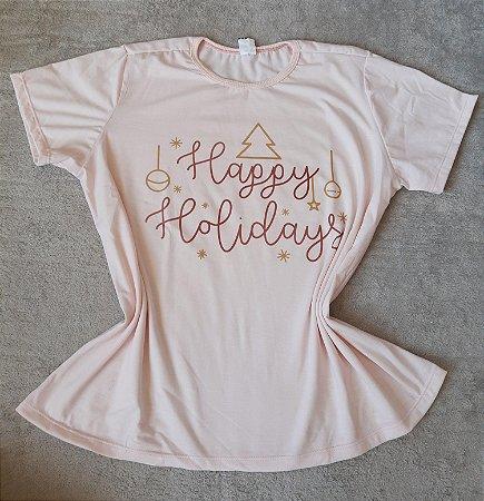 T-Shirt Feminina no Atacado Happy Holidays
