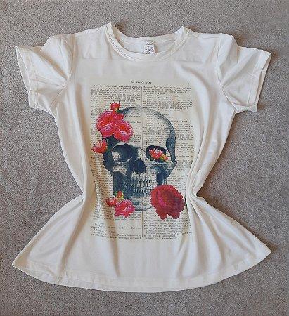 T-Shirt Feminina no Atacado Caveira Rosas