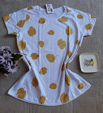 T-Shirt Feminina no Atacado Folhas Douradas