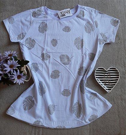 T-Shirt Feminina no Atacado Folhas Prata