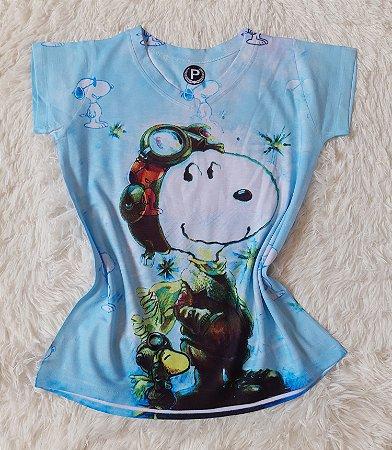 T-Shirt Feminina no Atacado Snoopy Grande Aviador