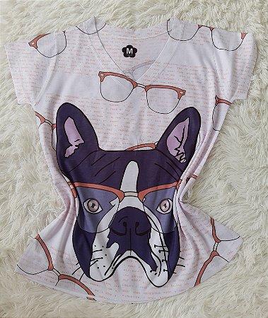 T-Shirt Feminina no Atacado Dog Óculos