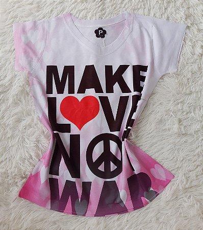 T-Shirt Feminina no Atacado Make Love Not War