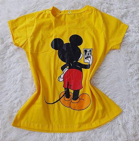 Blusa Feminina no Atacado Mickey Selfie Fundo Amarelo