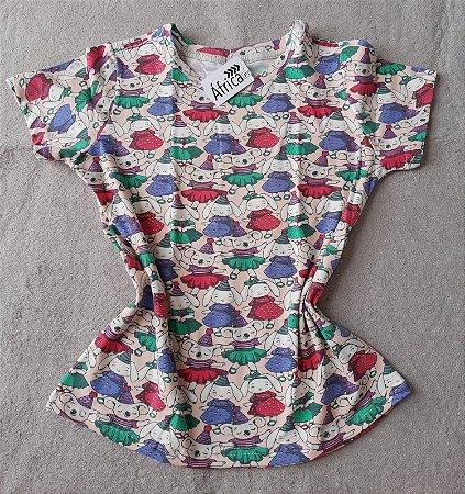 T-Shirt Feminina no Atacado Bichos de Vestido