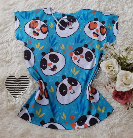 T-Shirt Feminina no Atacado Pandas Rostos