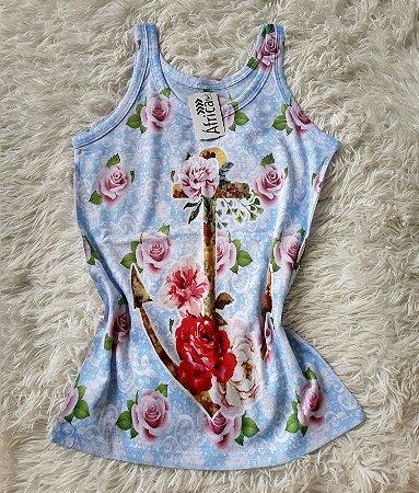 T-shirt  feminino no atacado âncora e rosas