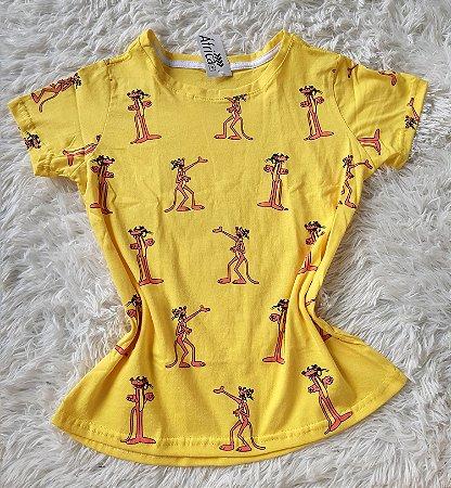 T-shirt feminino no atacado pantera -de-rosa amarelo