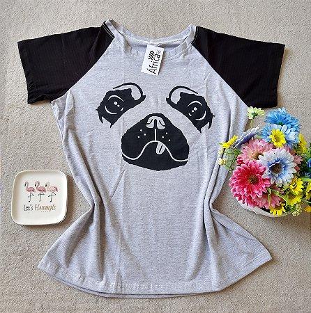 T-shirt Rosto Dog fundo cinza