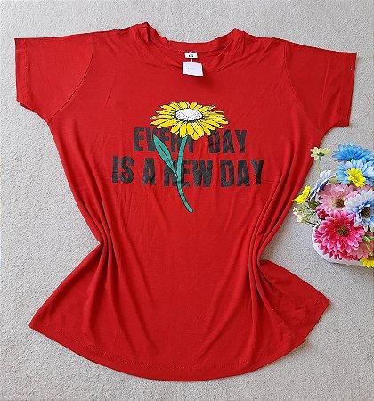 T-shirt Girassol fundo Vermelho