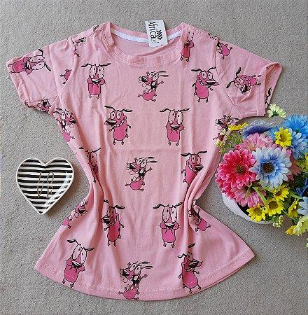 T-shirt Coragem fundo rosa