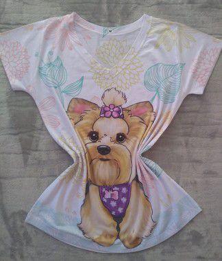 T Shirt Feminina no Atacado Dog Laço