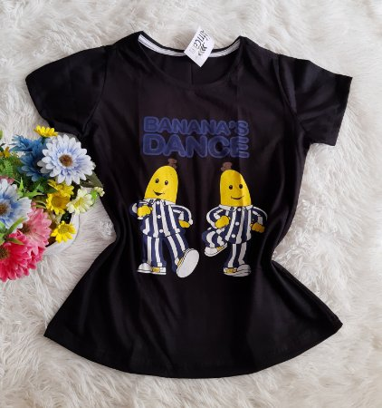 T-Shirt Feminina no Atacado Banana Dance Fundo Preto