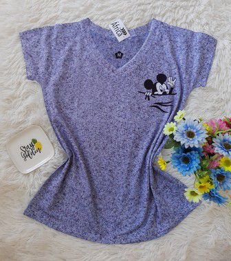 T shirt Feminina no Atacado Mickey no Bolso