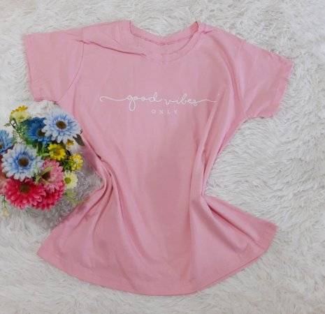 T-Shirt Feminina  Good Vibes Rosa