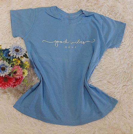 T-Shirt Feminina  Good Vibes Azul