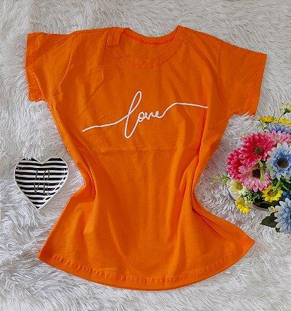 T-Shirt Feminina  Love Laranja