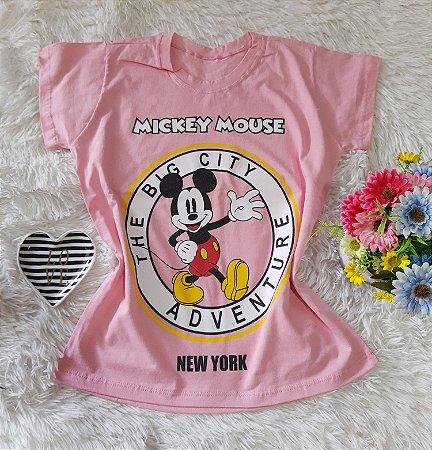 T-Shirt Feminina Mickey Perfil Fundo Rosa