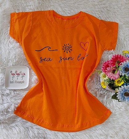 T-Shirt Feminina Sea Sun Love Laranja