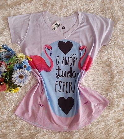Tee Feminina No Atacado Flamingo Amor