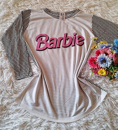 Blusa Feminina Manga Longa  Listras Barbie