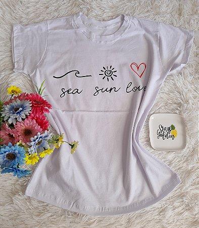 T-Shirt Fminina No Atacado Sea Sun Love Branca