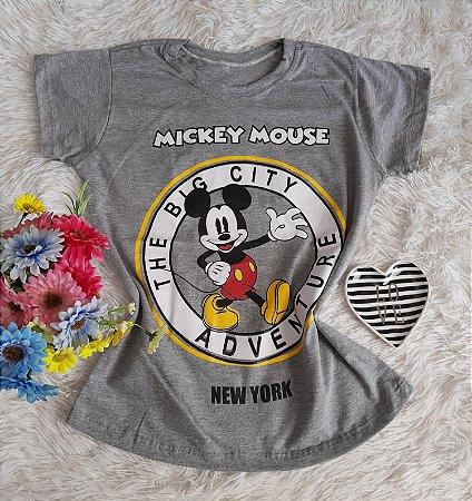 T-Shirt Fminina No Atacado Mickey Perfil Cinza