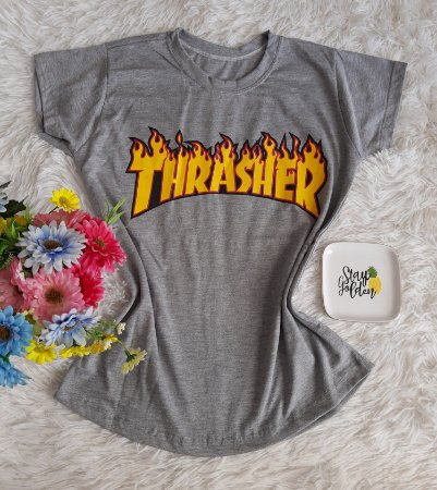 T-Shirt Fminina No Atacado Thrasher Cinza