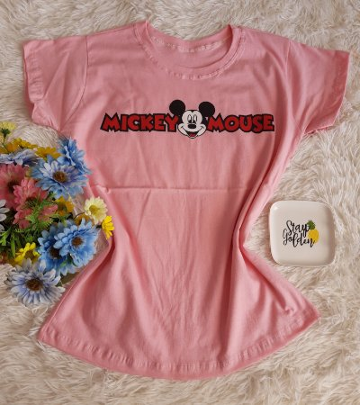 T-Shirt Fminina No Atacado Mickey Mouse  Rosa