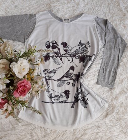 T-Shirt Feminina No Atacado Manga Longa Pássaros