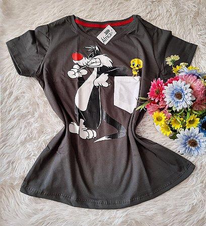 T-Shirt Feminina No Atacado Frajola Piu-Piu No Bolso Musgo