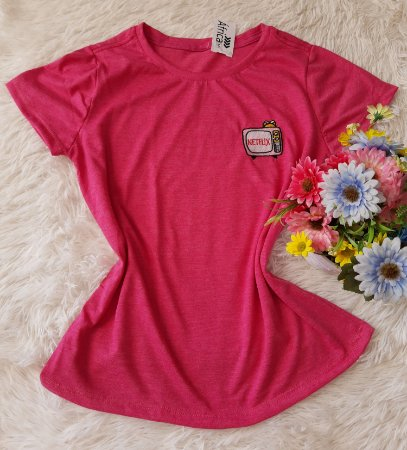 T-Shirt Feminina No Atacado Netflix Rosa