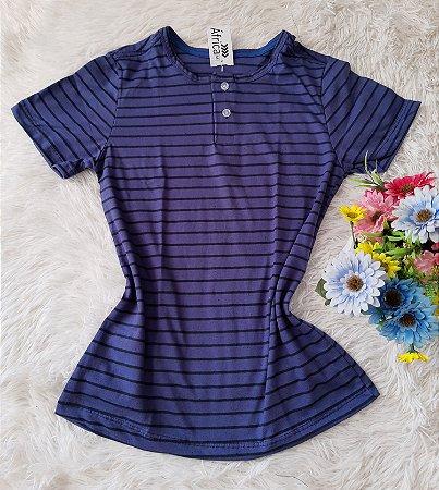 T-Shirt Feminina No Atacado Listra Azul e Preta