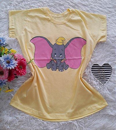 T-Shirt Feminina No Atacado Dumbo Fundo Amarelo