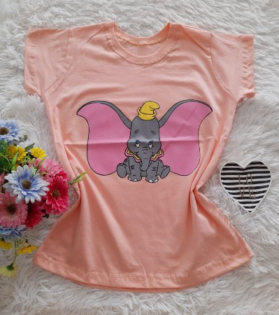 T-Shirt Feminina No Atacado Dumbo Fundo Salmon