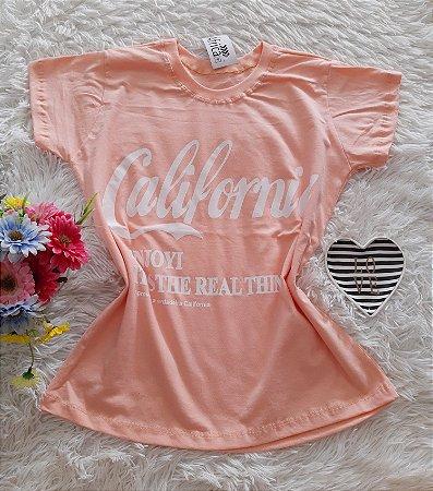 T-Shirt Feminina No Atacado California Fundo Salmon