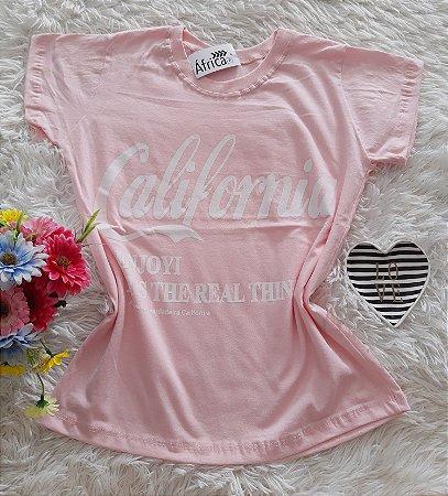 T-Shirt Feminina No Atacado California Fundo Rosa
