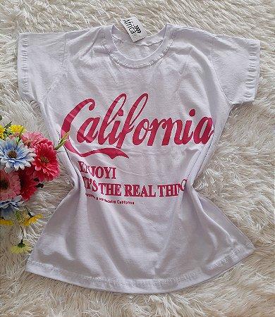 T-Shirt Feminina No Atacado California Fundo Branco