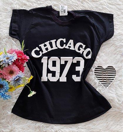 T-Shirt Feminina No Atacado Chicago Fundo Preto