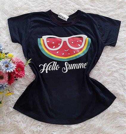 T-Shirt Feminina No Atacado Melancia Fundo Preto